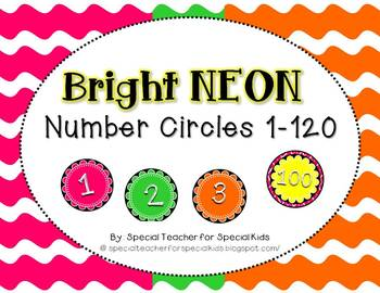 Bright NEON Number Circles 1-120