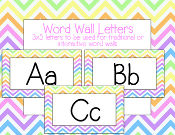 Bright Neon Chevron Word Wall Letters