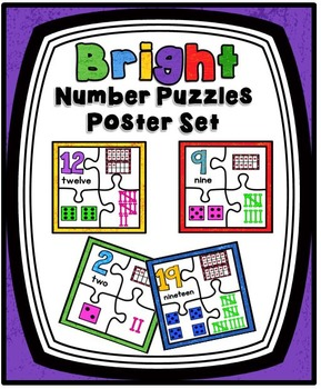 Bright Number Puzzles Posters Set ~ 1–20