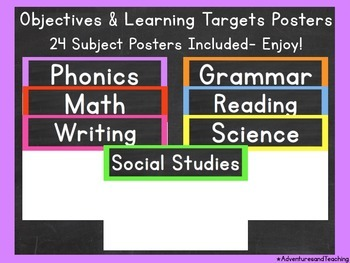 Bright Objectives & Learning Targets Signs {Posters}