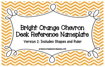 Bright Orange Chevron Desk Reference Nameplates Version 2
