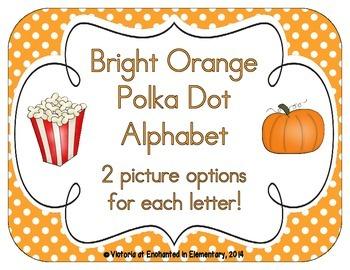Bright Orange Polka Dot Alphabet Cards