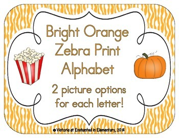 Bright Orange Zebra Print Alphabet Cards