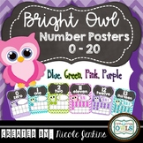 Bright Owl Number Posters Chevron 0-20 (Blue, Pink, Purple
