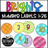 Bright Patterns round classroom number labels 1-36