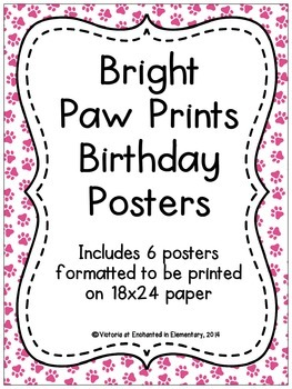 Bright Paw Prints Birthday Posters