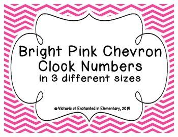 Bright Pink Chevron Clock Numbers