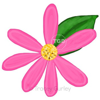 Bright Pink Daisy with and without leaf Printable Tracey G