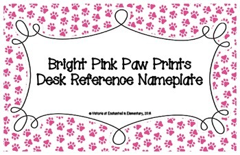 Bright Pink Paw Prints Desk Reference Nameplates