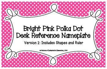 Bright Pink Polka Dot Desk Reference Nameplates Version 2