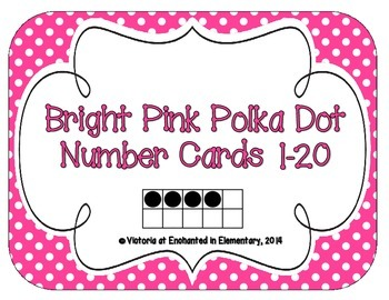 Bright Pink Polka Dot Number Cards 1-20