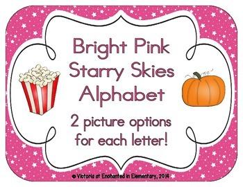 Bright Pink Starry Skies Alphabet Cards