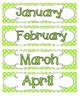 Bright Polka Dot Calendar Numbers, Months and Days