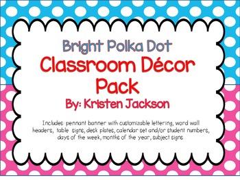 Bright Polka Dot Classroom Decration and Poster Set