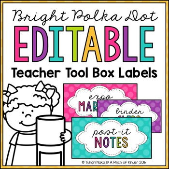 Bright Polka Dot Editable Teacher Tool Box Labels