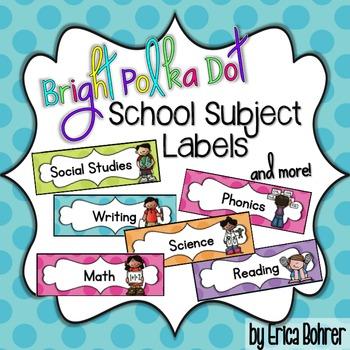 Bright Polka Dot School Subject Labels