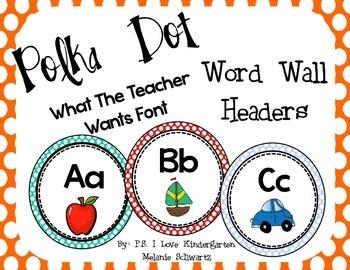 Bright Polka Dot Word Wall Headers with Fun Font