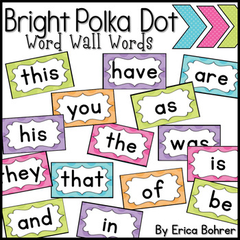 Bright Polka Dot Word Wall Words - Add Your Own Words