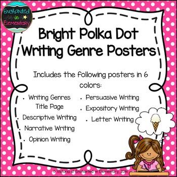 Bright Polka Dot Writing Genre Posters