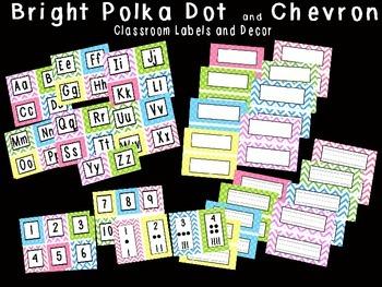 Bright Polka Dot and Chevron Classroom Labels, Alphabet an