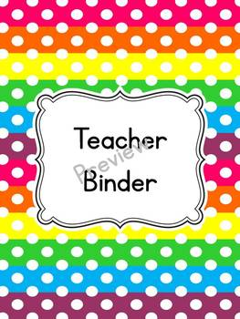 Bright Polka Dots Teacher Binder Cover