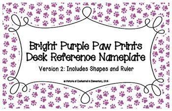 Bright Purple Paw Prints Desk Reference Nameplates Version 2