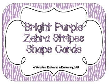 Bright Purple Zebra Print Shape Cards