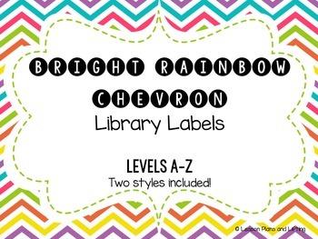 Bright Rainbow Chevron Library Labels