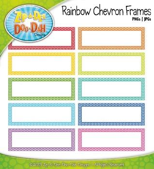Bright Rainbow Chevron Rectangle Border Frames — 16 Colorf