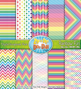 Bright Rainbow Fun Digital Scrapbook Pack (10 Pages)