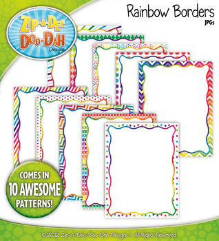 Bright Rainbow Borders Set 1 — 10 Colorful Graphics!