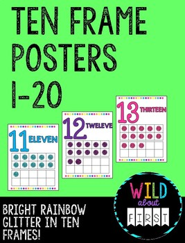 Bright Rainbow Ten Frame Posters