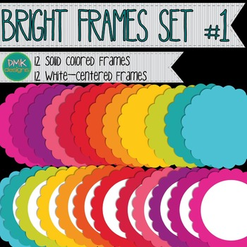 Digital Frame Set-  Bright Scalloped Frames