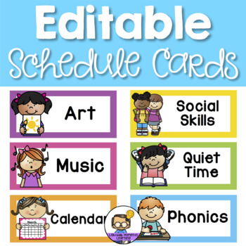 Bright Schedule Cards: Visual daily timetable – over 100 options!