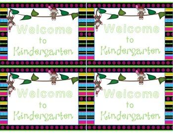 Bright Sock Monkey Welcome to Kindergarten-Sixth Grade Pos
