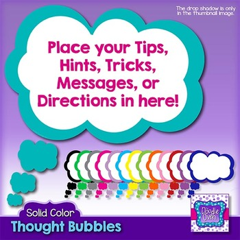 Thought Bubbles Clipart (solid colors)