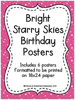 Bright Starry Skies Birthday Posters