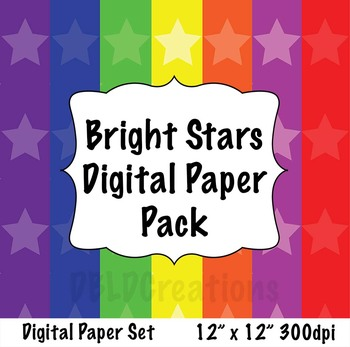 Bright Stars Digital Paper Pack - 7 Sheets
