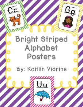 Bright Striped Alphabet Posters