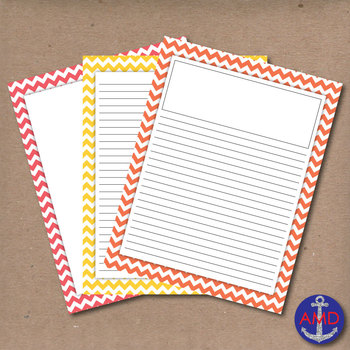 Bright Summer Chevron Lined Writing Paper for Writers Work
