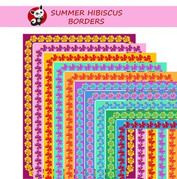 Bright, Summer, Hawaiian border. Hibiscus flower. Summer v