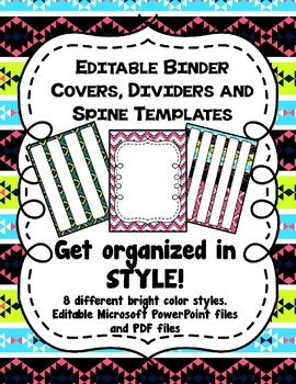 Bright Tribal Print Editable Binder Covers, Dividers and S