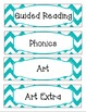 Bright Turquoise & White Chevron Schedule Cards