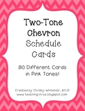 Bright Two-Tone Pink Chevron Schedule Cards