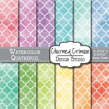 Bright Watercolor Quatrefoil Digital Paper 1498