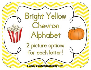 Bright Yellow Chevron Alphabet Cards