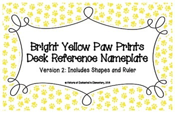 Bright Yellow Paw Prints Desk Reference Nameplates Version 2