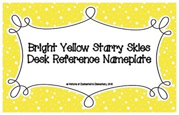 Bright Yellow Starry Skies Desk Reference Nameplates
