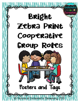 Bright Zebra Print Cooperative Group Roles- Posters and St