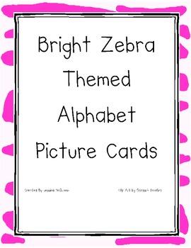 Bright Zebra Themed Alphabet Cards